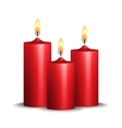 Three red burning candles on white background vector
