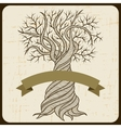 Retro card with abstract curling tree vector