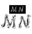 Capital letters m and n vector