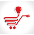 Wired shopping cart icon with bulb and plug vector