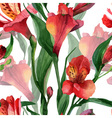 Floral pattern seamless background red vector