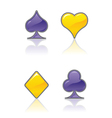 Purple and yellow card suit icons vector