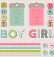 Scrapbook baby girl and boy set vector