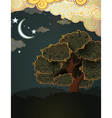 Cartoon landscape tree clouds and moon vector