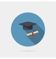 Icon of mortarboard or graduation cap and diploma vector