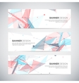 Banners set with polygonal abstract shapes circles vector