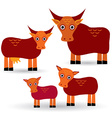 Cow bull and two calves set of funny animals with vector