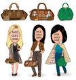 Modern girls with bag vector
