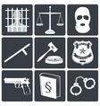 Law and justice icons white on black vector