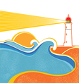 Lighthouse and sea waves abstract seascape on vector