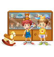Two young boys in front of a cabinet with toys vector