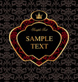 Golden label with red pattern on damask black vector