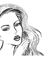 Sketch of beautiful women face like drawn by coal vector