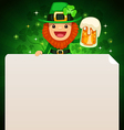 Leprechaun looking at blank poster on top green vector
