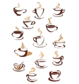 Hot brown coffee icons vector