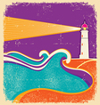 Lighthouse and sea waves abstract seascape poster vector