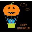 Pumpkin hot air balloon with cute monster vector