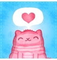 Happy valentines card cute cat with heart vector
