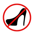 Icon prohibition shoes with heels vector