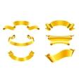 Gold ribbons set vector