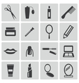 Black cosmetics icons set vector