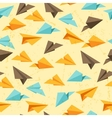 Seamless pattern of paper planes in flat design vector