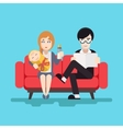 Retro happy family modern flat design concept vector
