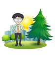 A man standing beside the pine tree vector
