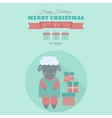 New year card with sheep in flat vector