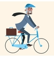 Black businessman on bike rides to work vector