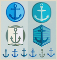 Set of vintage retro nautical badges and labels vector