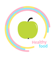 Green apple abstract round frame diet concept vector