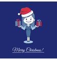 Card merry christmas with santa and gifts vector