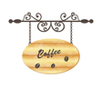 Wooden sign with coffee bean floral forging vector