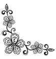 Corner ornamental lace flowers black and white vector