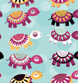 Turtle seamless pattern with funny cute animal on vector