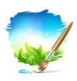 Painting brush natural with blue sky background vector