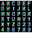 Alphabet font gem and colored glass vector