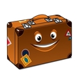 Happy travel brown leather suitcase vector