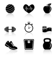 Fitness black icons vector