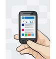 Smartphone with mobile website vector