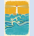 Sea waves and lighthouseabstract on old paper vector