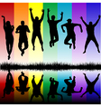 Silhouettes of young people jumping vector