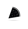 Pizza slice black and white vector