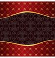 Vintage red background with frame of golden vector