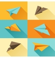 Set of paper planes in flat design style vector