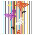 Seamless striped background with butterflies vector