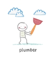 Plumber holding a work tool vector