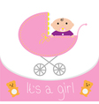 Baby pink carriage its a girl flat design style vector