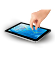 Hand with tablet with graph vector